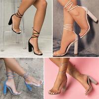 New Ladies High Block Heel Transparent Straps Lace Up Womens Sandals Shoes