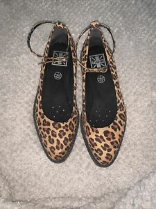 TUK Creeper Slip Ons Leopard Faux Suede Size 7 Worn Once Goth Alternative