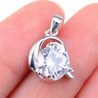925 Sterling Silver Capricorn Zodiac Sign Crystal Pendant + Necklace Chain H1196