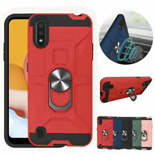 For Samsung Galaxy A01 Shock Armor Drop Protection Kickstand Ring TPU Case Cover