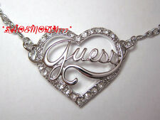 GUESS Exclusive Open Heart Necklace Collier Rhinestones Silver Tone Gift Pouch