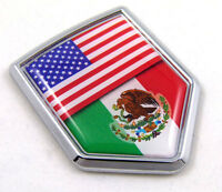 USA Mexico American Mexican Flag Car Chrome Emblem Decal Sticker with adhesive