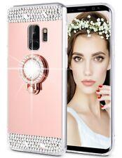 Chicas de lujo bonito Brillante Bling Espejo maquillaje con Anillo Soporte TPU Back Case C1