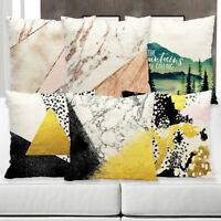 Marble pattern Cotton Linen Pillow Case Sofa Waist Cushion Cover Home Decor