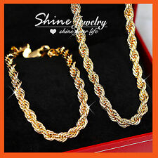 18K GOLD FILLED CURVE RINGS WAVE CHAINS SOLID MENS WOMENS NECKLACE BRACELET SET