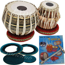 TABLA DRUM~BLACK BRASS 2.5 KG BAYAN~SHESHAM WOOD DAYAN~FREE HAMMER/CUSHION/BOOK