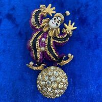 Large VINTAGE Pierrot Clown On Ball Brooch Pin Gold Tone Clear Glass Sparkly