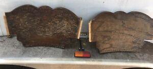 "2 Atg Oak Pediment Press Back Chair Salvage Architectural Farmhouse Chic 17.5"""