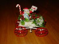 "VINTAGE Santa Claus in CARRIAGE - RARE Christmas Handpainted Soft Plastic 8"" in"