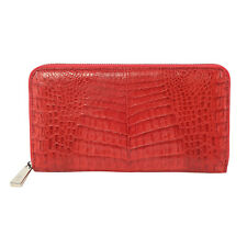 RIVER Brand Closeout Organic Caiman Crocodile Natural Fire Red Embossed Clutch