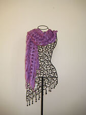 Ladies Silky Burned Out Square Window Scarf Purple