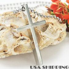 316 Titanium Surgical Polished Stainless Steel Crucifix Cross Mens Necklace