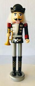 """Nutcracker Bugler w/ Horn Plastic Christmas Decor Greenbrier Black Silver Red 8"""""""