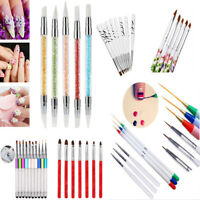 2PCS Acrylic UV Gel Nail Art Design Pen Polish Painting Brush Manicure Tool Kit