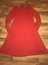 Express Womens Red v Neck Long Sleeve Swing Dress Small