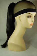 """Hairpiece Clip-on Jett Black #1-- by Mona Lisa 18"""" Synthetic"""