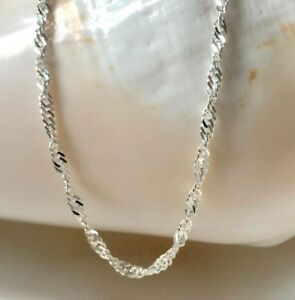 Sterling Silver Chain Necklace for Women, Sparkly Twist, Custom Sizes, Gift Box