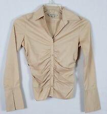 RW & CO.  Long Sleeved Beige Professional Career Button front Blouse Size XP XS