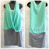 Suzi Chin for Maggy Boutique mint green and grey draped silk dress size 4