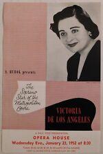 Victoria De Los Angeles vintage Handbill Sf Opera House Jan 23 1952 flyer