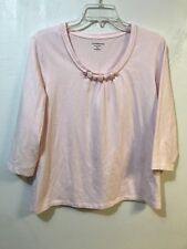 Croft Barrow Petite Stretch Large Pink Basic Top 3/4 Sleeves Embellished Neck