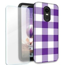 Purple White Plaid Double Layer Case w/Tempered Glass Protector For LG Stylo 4
