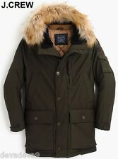 J.CREW Thinsulate XL nordic down parka olive green coat jacket fur hood military