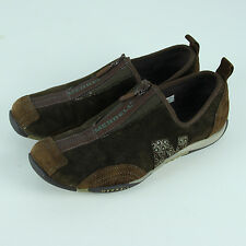 Merrell Barrado Shoes Womens 8.5 Flats Brown Suede Leather Zips Slip On Sneaker