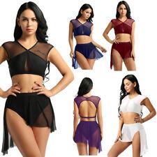 Women Dancewear Costume Performance Contemporary Lyrical Dance Outfit Top+Skirt