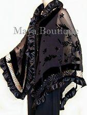 Black Shawl Scarf Wrap Silk Beaded Burnout Velvet Triangle Ruffles Maya Matazaro