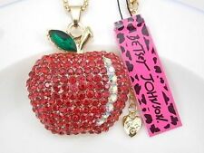 Betsey Johnson  Jewelry crystal rhinestone red apple pendant necklace # F386