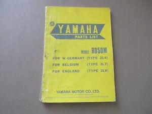 Yamaha Rd 50 M Manual Lista de Repuestos Catálogo Piezas Regiones 2L4-28198-E5