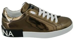 DOLCE & GABBANA Shoes Sneakers Metallic Gold Leather Casual Mens EU42.5 / US9.5
