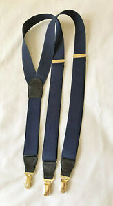 CAS Germany Stretch Suspenders Navy Blue Woven Leather Gold Tone Adjusters VTG