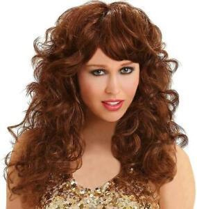 Ladies Fancy Dress  brown curly fabulous wig Abba