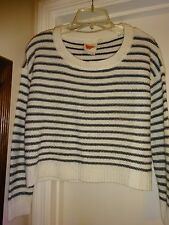 Derek Heart White with Black Stripes Medium Acrylic Long Sleeve Sweater