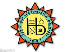 "HERMOSA BEACH CITY SEAL 4"" DECAL STICKER MADE IN USA VOLLEYBALL"