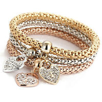 Women 3Pcs Gold Silver Rose Gold Bracelets Set Rhinestone Bangle Jewelry DSUK