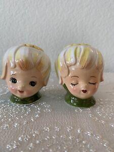 Vintage 1950's Lefton Thumbelina Honey Bun Pixie Salt & Pepper Shakers