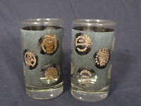 Libbey Black Gold Coin Vintage Drinking Glasses Set of 2 Bar Decor 5 inches tall