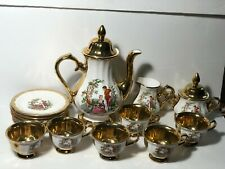 Antique Coffee Set People In Period Clothing Heavy Gold Accents Made in Turkey