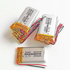10 pcs 3.7V 250mAh Lipo Polymer Rechargeable Battery For headset recorde 402035