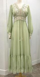 VTG 70's Pale Green Gunne Sax Lace Up Bodice Long Prairie Dress Ruffled Size 11