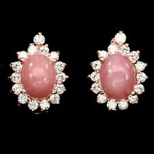 Ohrringe Opal rosa & CZ 925 Silber 585 rosévergoldet