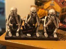 Hear Speak & See No Evil Skeleton Figurine Sculpture Halloween Skull & Bones NWT