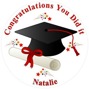 """Graduation 7.5"""" , 2"""", 1.5"""" ROUND EDIBLE ICING PRINTED CAKE TOPPER"""