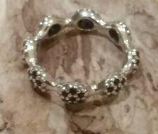 'EIGHT POD' Black Pavè Pandora Ring -  Silver 190889CK-52/48 (Size 52 @ 48) +box