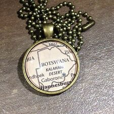 KALAHARI DESERT GABORONE BOTSWANA AFRICA Map Pendant Bronze necklace ATLAS
