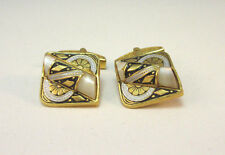 ART DECO STYLE SQUARE CUFF LINKS W/ UNIQUE DESIGN WHITE MILKY CENTER STONE *
