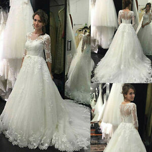 Wedding Dresses Lace Illusion 3/4 Sleeve Sheer Princess Bridal Gown Court Train